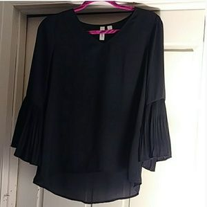 Tacera Black Sheer Top w/ 3/4 Bell Sleeves